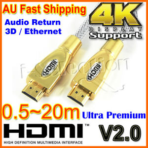 Premium-HDMI-Cable-V2-0-Gold-Plated-3D-4K-Ultra-HD-Audio-HighSpeed-0-5m-20m