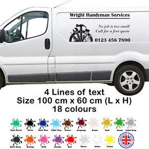 Van Side Door Decal Vinyl Sign Custom Personalised Business Handyman Sticker