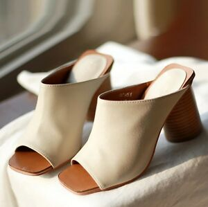 58a04b7113692a Women Leather Open Toe Mules Sandals Black White Brown Slip-On Shoes ...