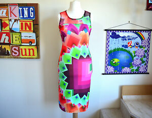 Squares Geometric Dress Bodycon Nuovo ~ Desigual M 5pPxwtx