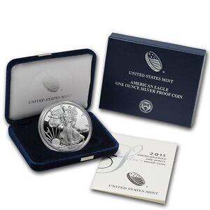 2015-W American 1 oz Silver Eagle Proof USA Made Capsuled Dollar Coin W/OMP/COA