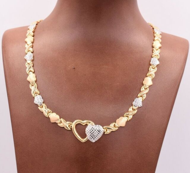 Hearts & Kisses Diamond Cut Chain Necklace 14K Yellow White Gold Clad 925 Silver