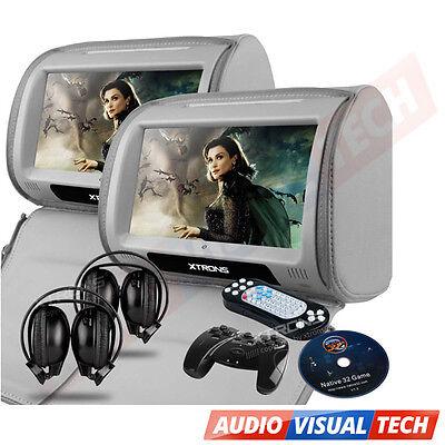 "2x9"" CAR HEADREST DVD PLAYER MONITOR DIGITAL TOUCH SCREEN GAMES USB HEADPHONES"