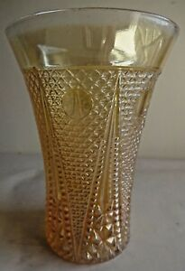 Vintage-Carnival-Glass-Tumblers-Beaded-Spears-Jain-Glass-Works-India-Rare-56-F