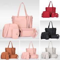 4pcs Women PU Leather Handbag Shoulder Bag Tote Purse Crossbody Satchel Clutch