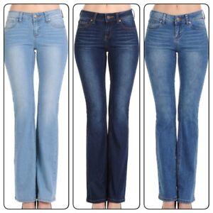 Wax-Jean-Women-039-s-Juniors-Mid-Rise-Slim-Boot-Cut-Straight-Jeans