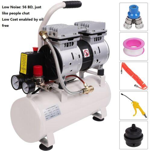 Silent 56 DB 110V Oil Free Air Compressor Blow Gun, 0.8HP 2.4 Gal Low Using Cost
