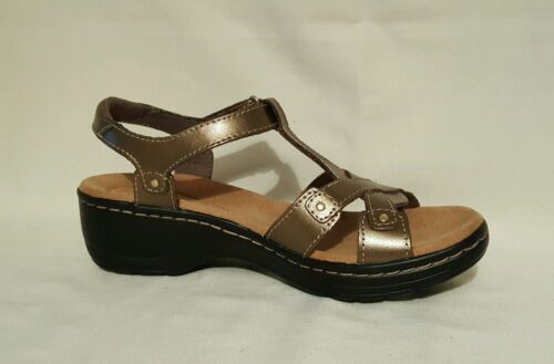 NEW CLARKS HAYLA FLUTE LEATHER WEDGES SANDALS SHOES LADIES GOLD BROWN BLACK