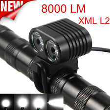 8000Lumen 2x CREE XM-L2 LED Cycling Front Bicycle Bike light Headlight Headlamp
