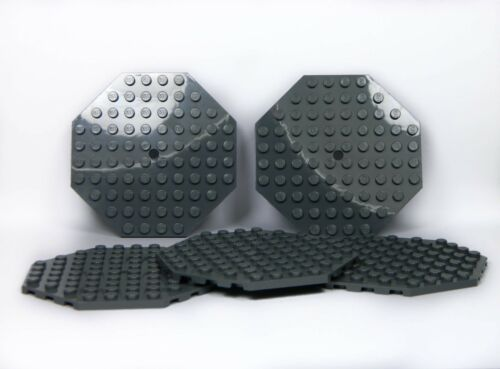 LEGO Large Plates Octagonal DARK STONE GREY # 10x10 # pack of 5 # flat