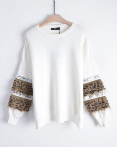 Leopard look faux fur embellished sleeves jumper in black white color