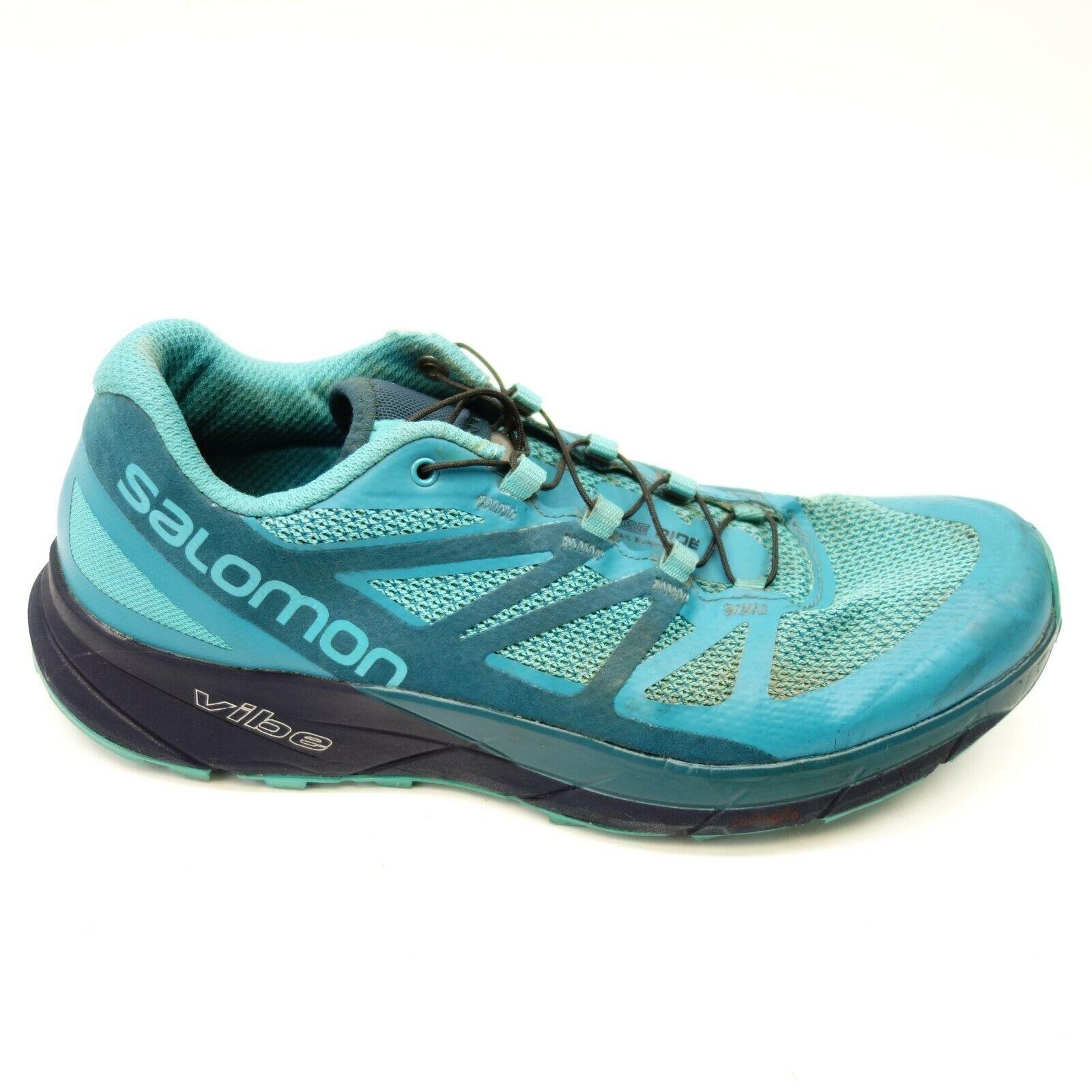 Salomon Sz 9 Sense Ride Ortholite bluee Athletic Hiking Running shoes Womens