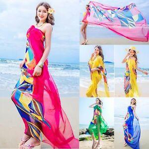 40444de5af Women Chiffon Beach Bikini Cover Up Wrap Scarf Pareo Swimwear Sarong ...