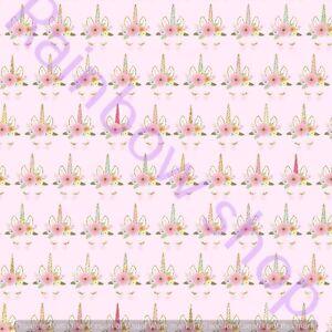 Unicorn printed canvas fabric A4 sheet hair bow making design mia1
