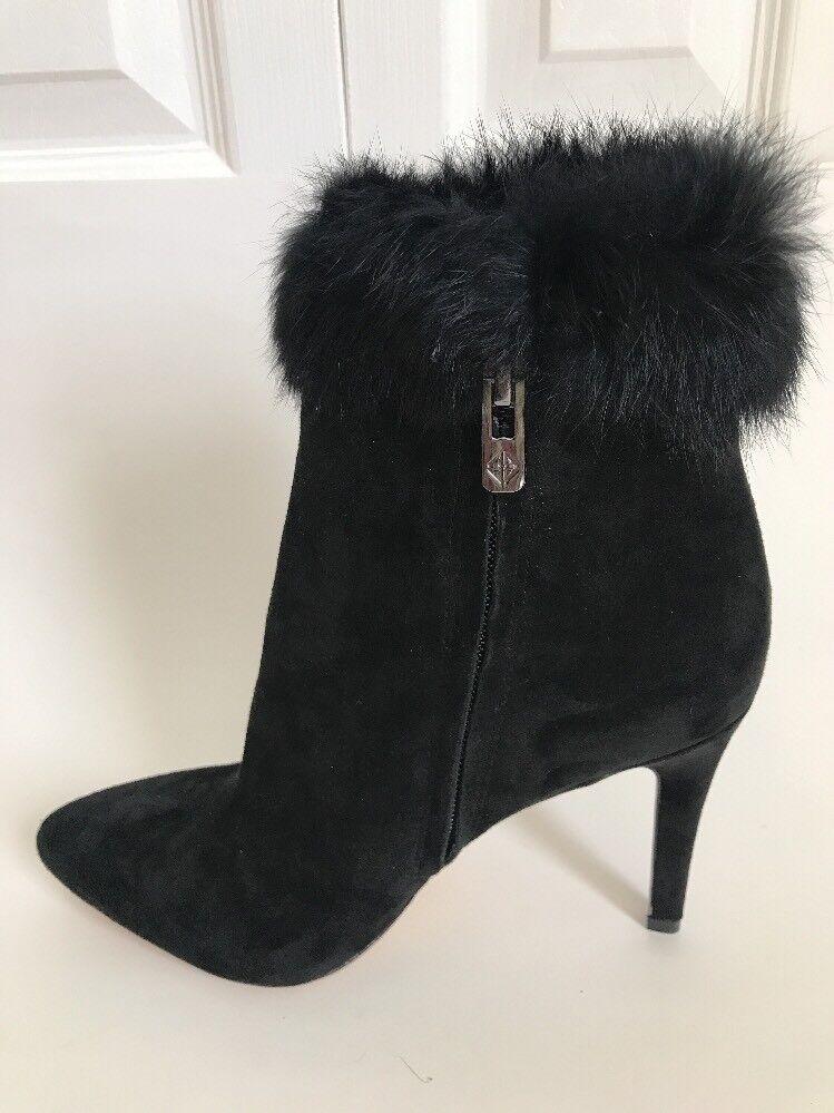 Nouveau Antonio Melani Kylan daim cuir fourrure de lapin lapin lapin robe Chaussons Chaussures Noir 6.5 6d33aa