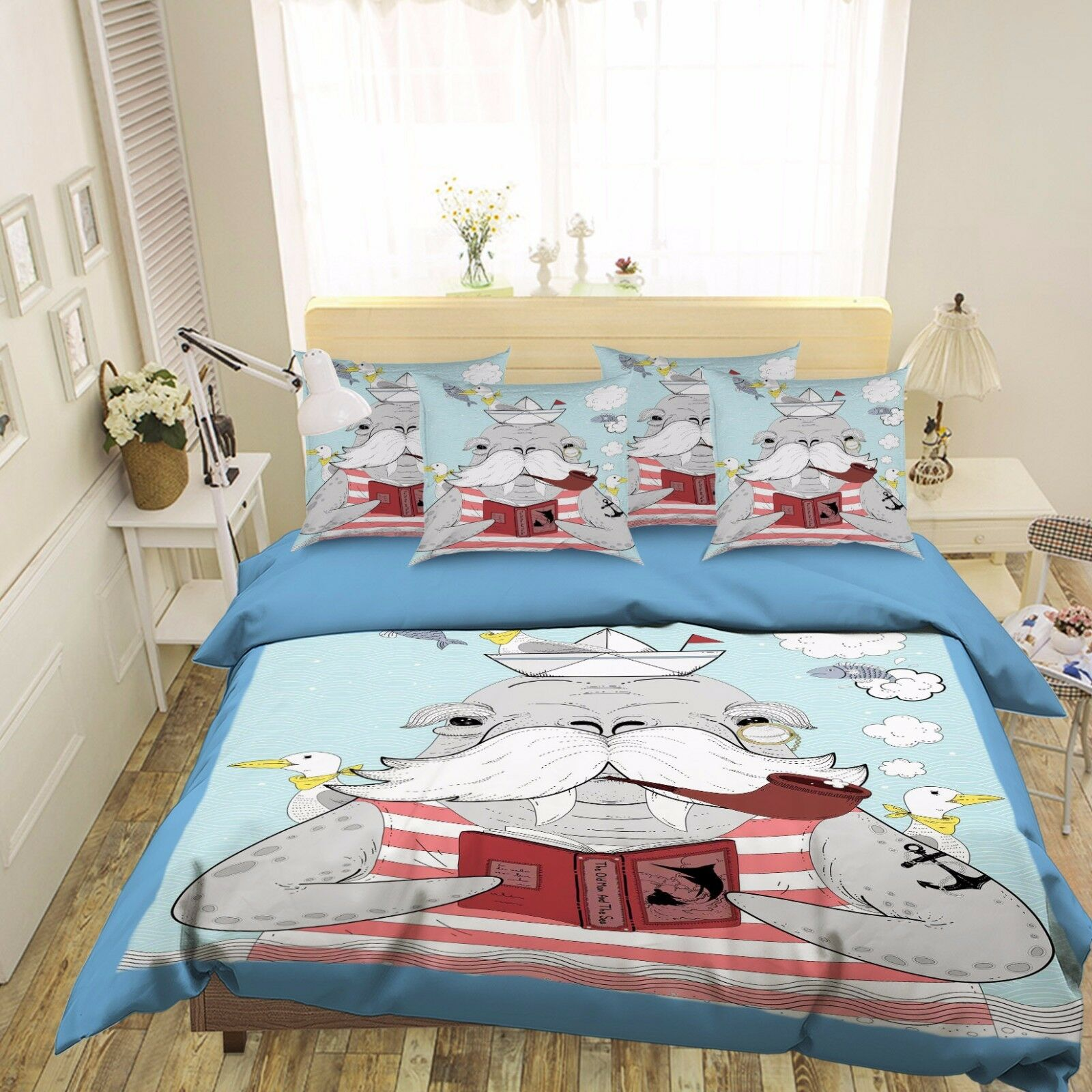 3D Sea Lion Postgraduate 4 Bed Pillowcases Quilt Duvet Cover Set Single Queen CA