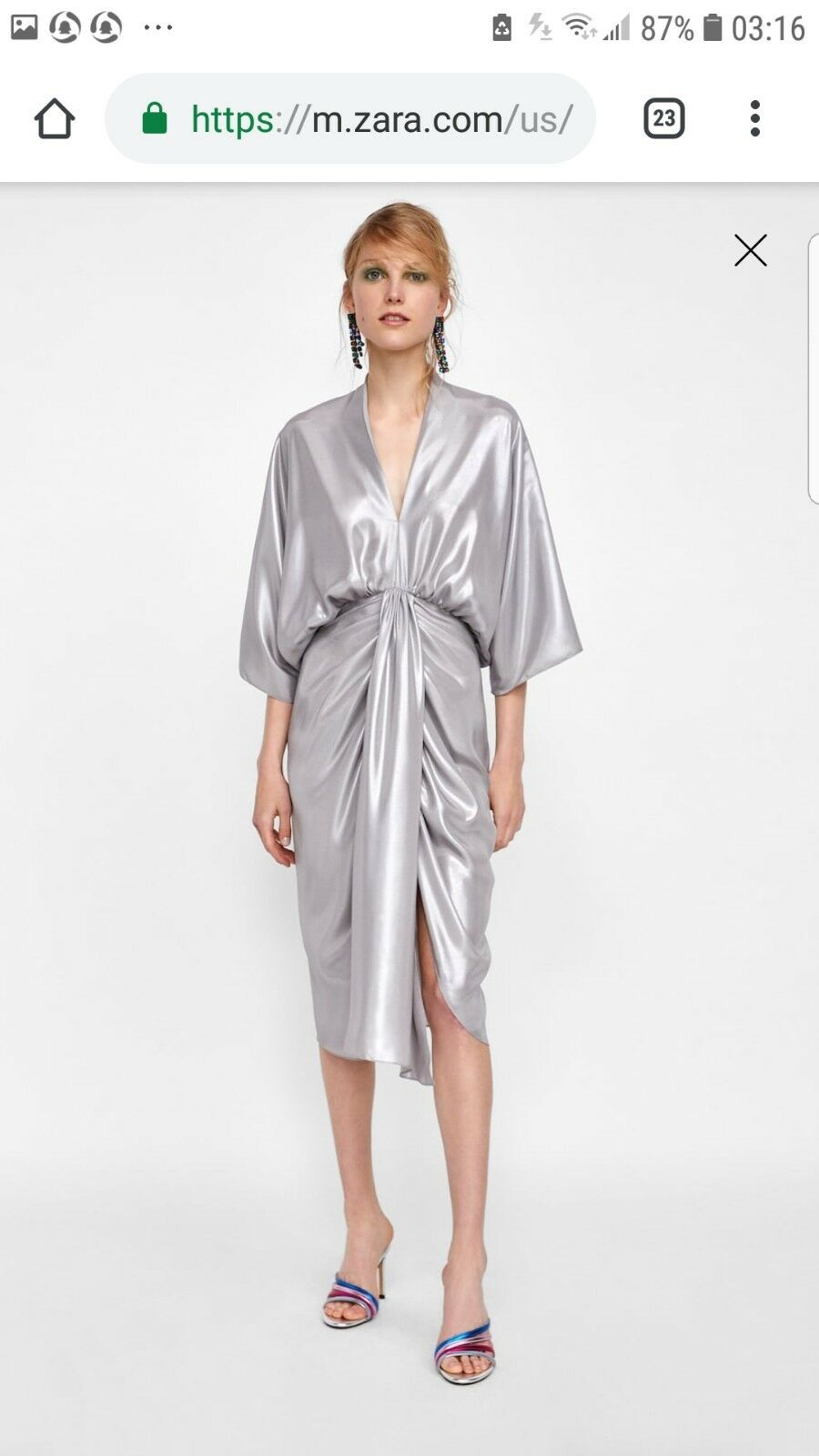 Zara metallic look dress small new