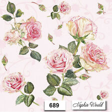 (689) TWO Individual Paper LUNCHEON Decoupage Napkins - ROSES on PINK FLOWERS