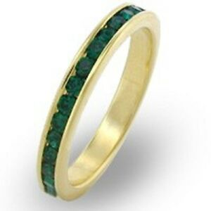 18K-GOLD-EP-EMERALD-ROUND-ETERNITY-RING-size-7-or-O