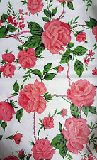 NEW PINK ROSES FLOWERS VINYL FLANNEL BACK FLORAL TABLECLOTH OBLONG 52x90 UP TO 8