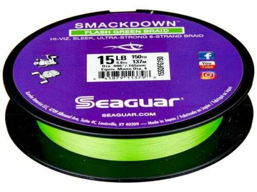 Seaguar Smackdown Flash Green Braid 8 Strand Fishing Line Select Size