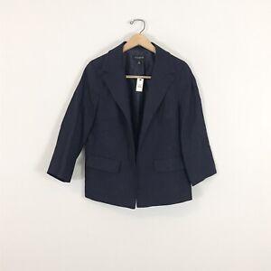 Talbots NWT size 8 100% Linen Jacket Blazer Open Front Navy Blue