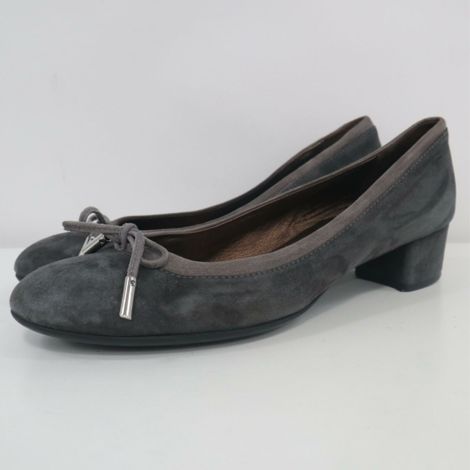 AGL Ballet Pumps 8.5 Kristin Suede Leather Round Toe Bow Block Heel Gray Work