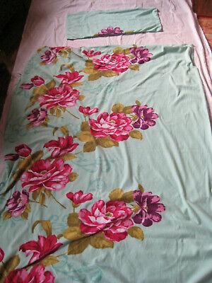 1 Bettwäsche-garnitur Bezug Und Kissen 135x200 Kissen 78x40 Türkis M Blumen