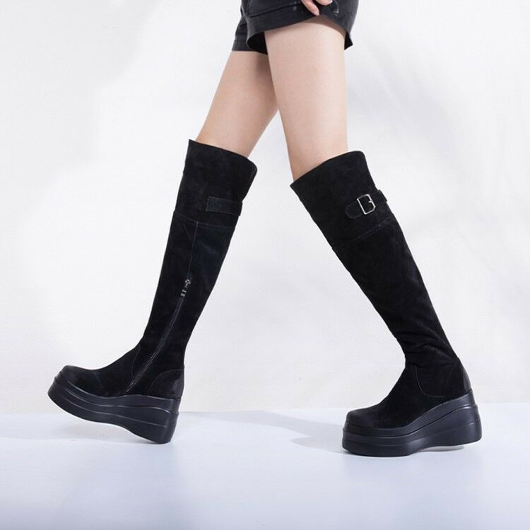 New Womens Fashion Winter Buckle Strap Wedge High Heels Platform Knee High Boots
