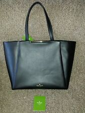KATE SPADE NY-Black Smooth Leather Camden Way Lenora Tote Shopper-New with tag
