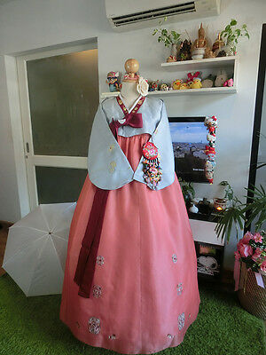 "Korean Traditional Dress Classic Blue_orange HANBOK  - 40""chest _163 cm.tall"