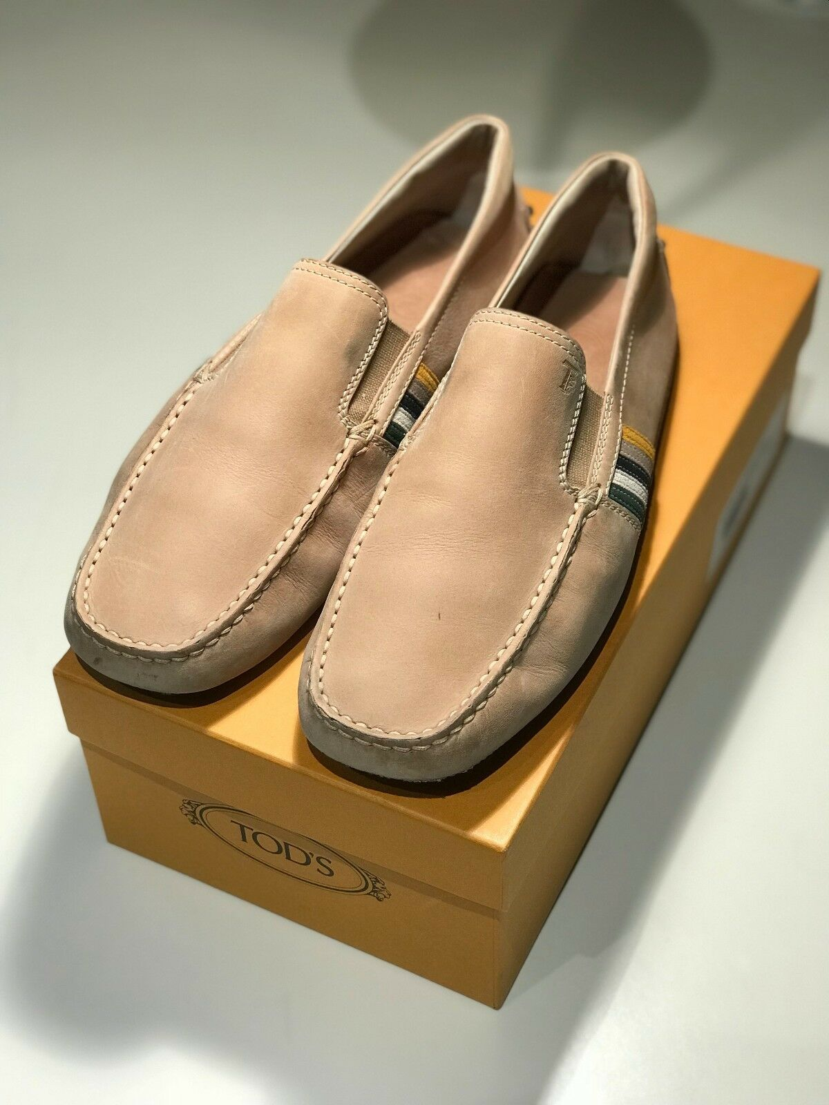 Tods Beige Loafers Moccasins with Stripes (Sz 40)