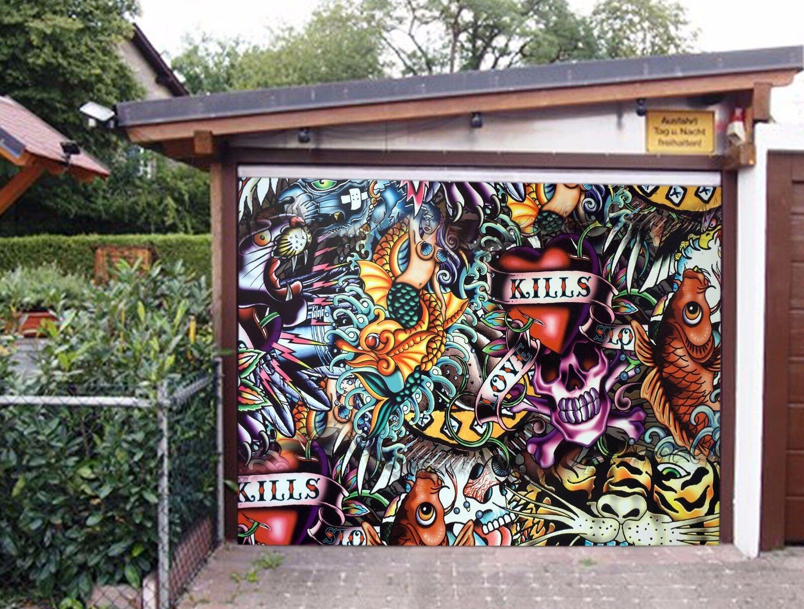 3D Fish, graffiti Garage Door Murals Wall Print Decal Wall Deco AJ WALLPAPER UK