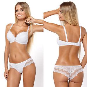 Ensemble lingerie femme sexy blanc soutien gorge push up et tanga ... e11419f8f3e