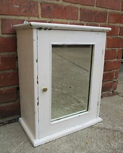 Details About Vintage Wood Mirror Medicine Cabinet Surface Mount White Shabby Chic Cottage