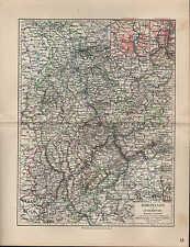 Rheinprovinz Rheinland /& Luxemburg  Fläche Bevölkerung Original Karte 1892