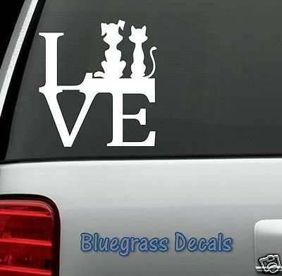 B1008 DOG CAT LOVE PET Decal Sticker for Car Truck SUV Van LAPTOP Puppy Kitten