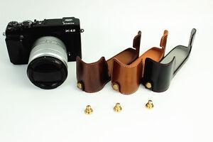 Leather-Half-Case-Bag-Grip-for-Fujifilm-X-E2-X-E1-XE2-camera-black-brown-coffee