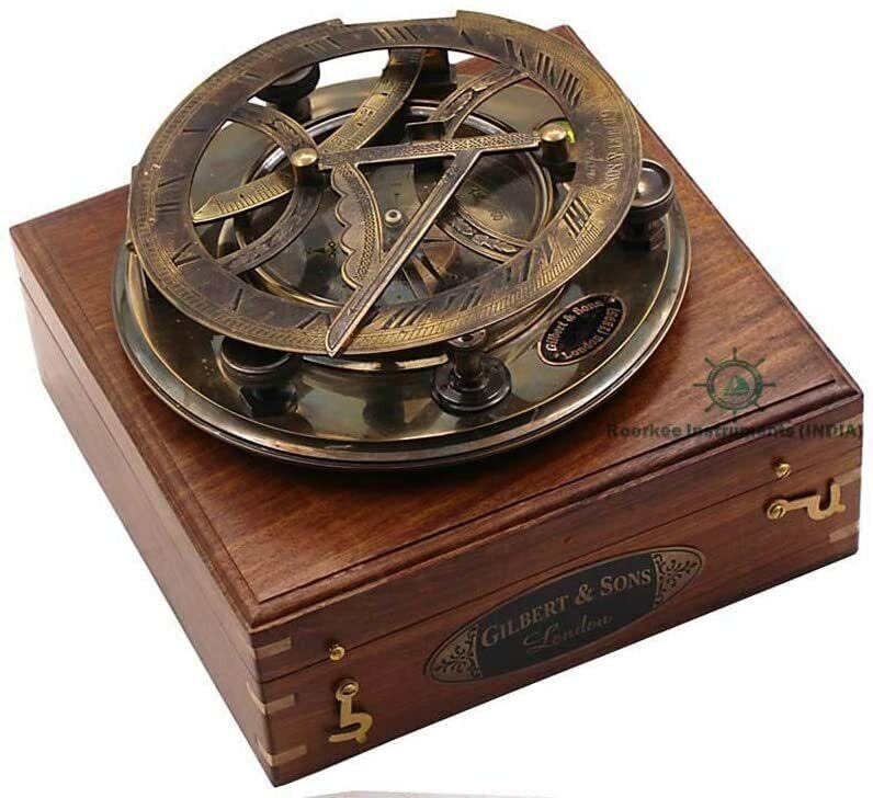 Heavy Brass Sundial Compass W Wooden Box Nautical Marine Collectible Replica