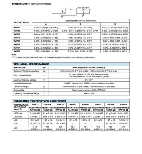 1x RWR78S4000BR 400R 0.1/% 10 W résistance résistances 400 Ohm