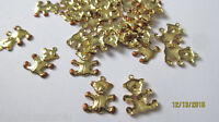 30 Lot Vintage Goldtone Stamped Teddy Bears Painted Paws 3/4