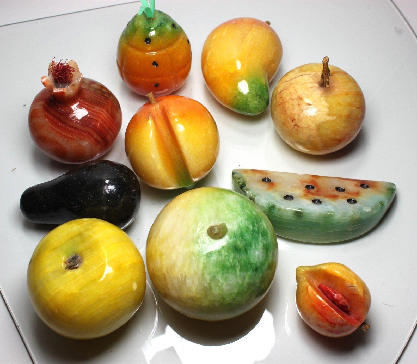 10 Piezas De Mármol Alabastro Italiano frutas Piedra Labrada