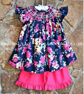 Smocked A Lot Girls Shorts Set Navy Blue Floral Pink Rose Birthday Dress Outfit
