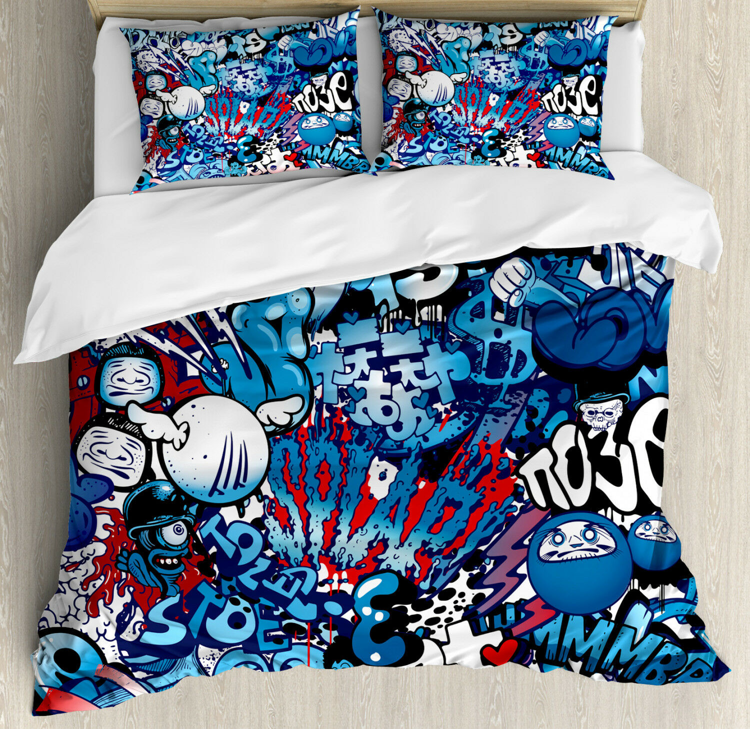 colorful Duvet Cover Set with Pillow Shams Graffiti Street Art Print