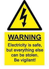 A5 Comedy Workplace Electricity Security Sticker - Hazard Accident Sign Shock