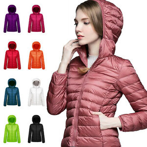 Fashion Womens Ultralight Hooded Down Parka Jacket Coat