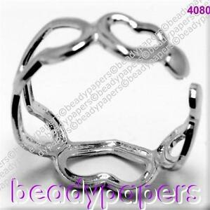 1-Small-Platinum-Plate-Ring-Adjustable-5-Hearts-Childs-Toe-15-mm-4080