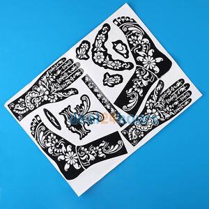 Traditional-India-Henna-Hand-Bein-Schablonen-Schablone-Mehndi-Koerper-Kunst-Pop