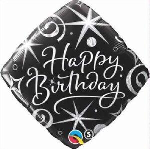 Birthday-Elegant-schwarz-silber-18-034-Folien-Ballon-fuer-Luft-Helium-Qualatex