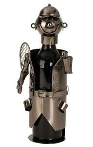 Wein-Flaschenhalter-Tennis-Spieler-Beruf-aus-Metall-Geschenk-Geburtstag